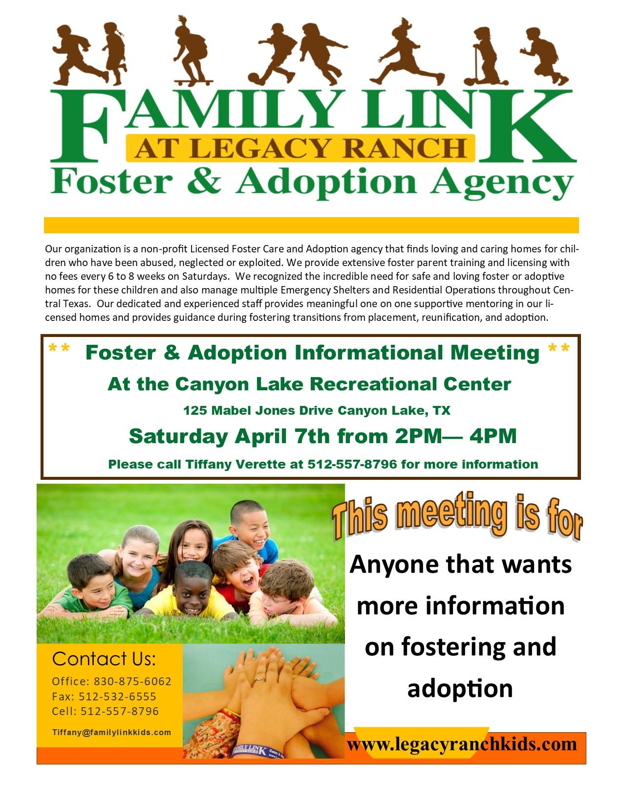 informational flyer familylink kids at legacy ranch